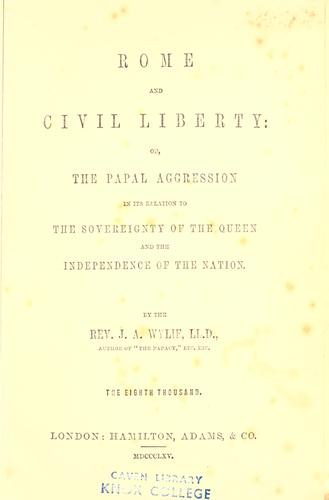 Rome and civil liberty by J. A. Wylie