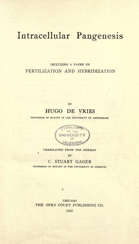 Intracellular pangenesis by Vries, Hugo de