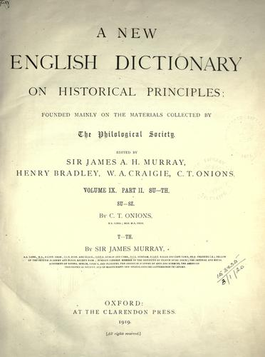 A new English dictionary on historical principles (vol 9, pt 2) by James Augustus Henry Murray