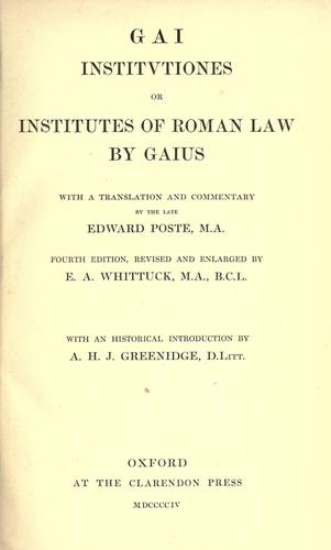 Gai Institutiones by Gaius.