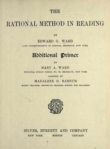 The rational method in reading by Edward G. Ward