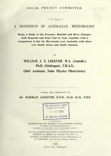 A discussion of Australian meteorology by Solar Physics Committee (Great Britain)