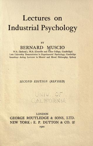 Lectures on industrial psychology