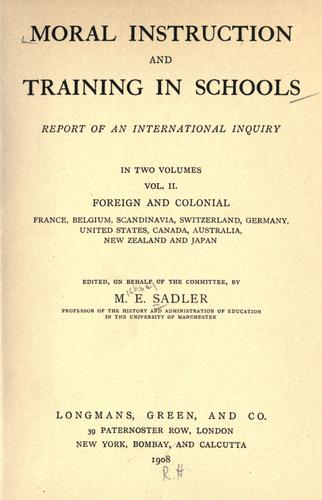 Moral instruction and training in schools