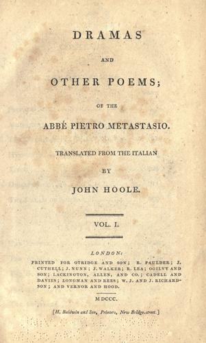 Dramas and other poems by Pietro Metastasio