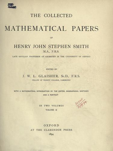 Collected mathematical papers. by Henry John Stephen Smith