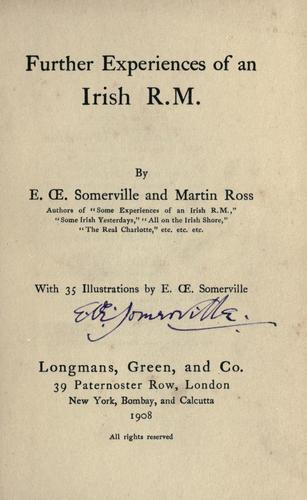 Further experiences of an Irish R.M. by E. OE. Somerville