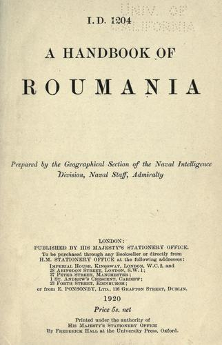 A handbook of Roumania. by Great Britain. Admiralty.