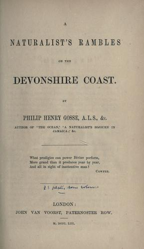 A naturalist's rambles on the Devonshire coast.