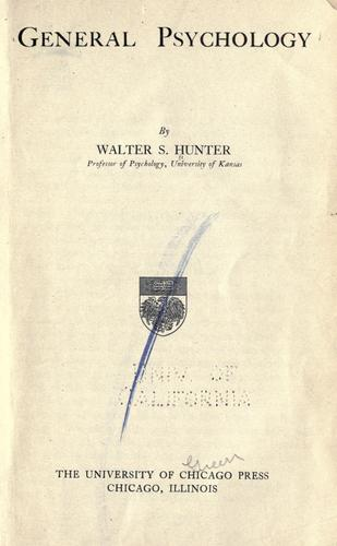 General psychology by Walter Samuel Hunter