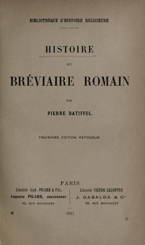 Histoire du Bréviaire romain