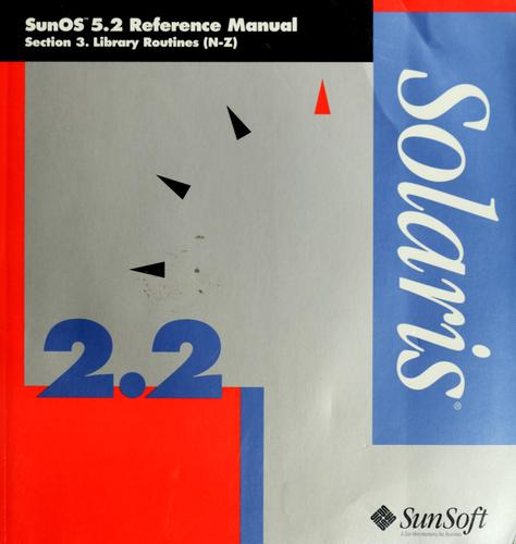 SunOS 5.2 reference manual by Sun Microsystems