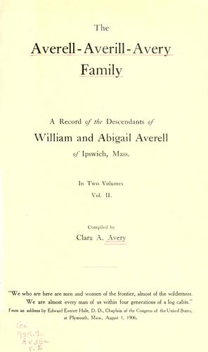 The Averell-Averill-Avery family by Clara Arlette Avery