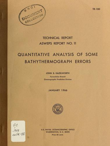 Quantitative analysis of some bathythermograph errors by John B. Hazelworth