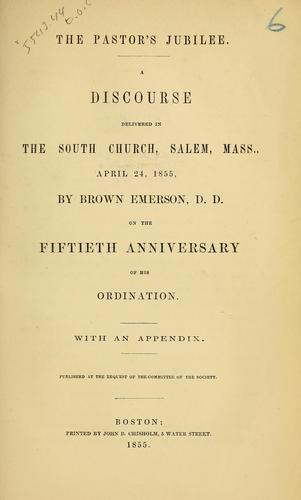 The pastor's jubilee by Brown Emerson