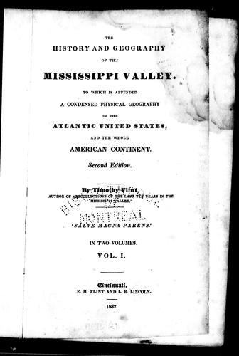 The history and geography of the Mississippi Valley by Timothy Flint