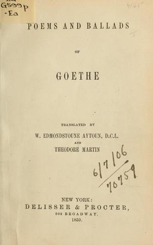 Poems and ballads by Johann Wolfgang von Goethe