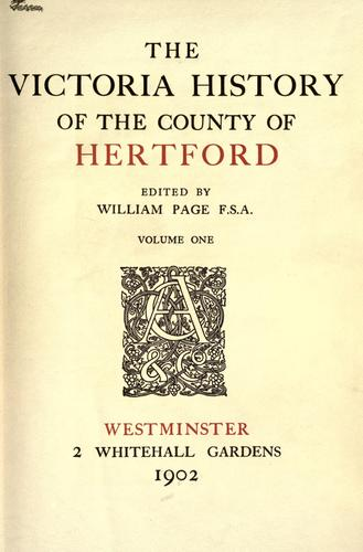 The Victoria history of the County of Hertford by Page, William