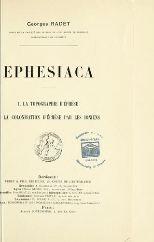 Ephesiaca by Georges Albert Radet