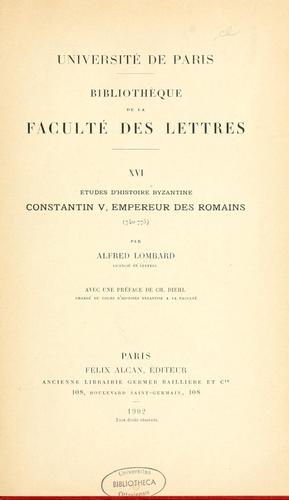 Études d'histoire byzantine by Alfred Lombard