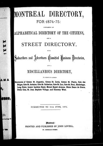 Montreal directory for 1871-72 by