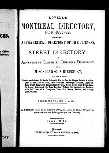 Lovell's Montreal directory for 1881-82 by