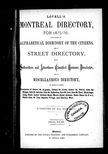 Lovell's Montreal directory for 1875-76 by