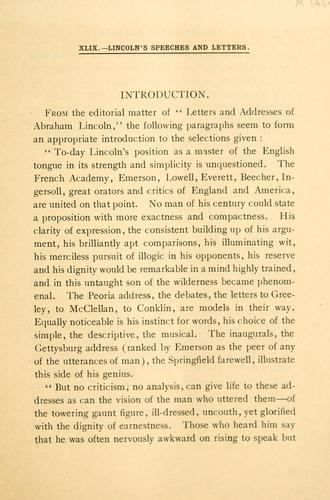 Lincoln's speeches and letters by Abraham Lincoln