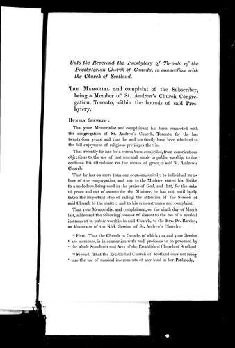 Unto the reverend the Presbytery of Toronto of the Presbyterian Church of Canada in Connection with the Church of Scotland by John Robertson