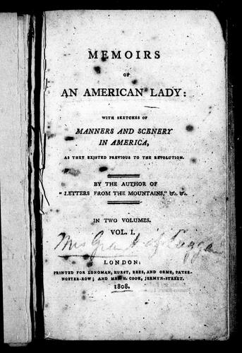 Memoirs of an American lady by Anne Grant