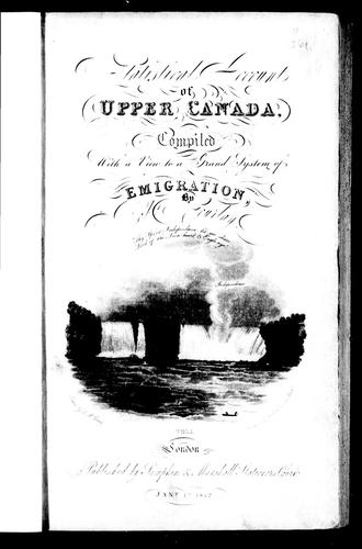 Statistical account of Upper Canada by Robert Gourlay