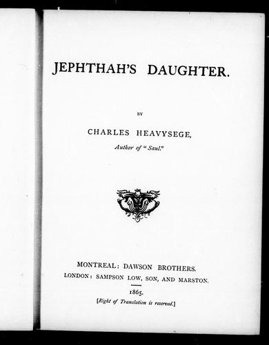 Jephthah's daughter by Charles Heavysege