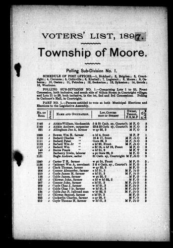 List of voters of the municipality of the township of Moore in the county of Lambton by Moore (Ont.)