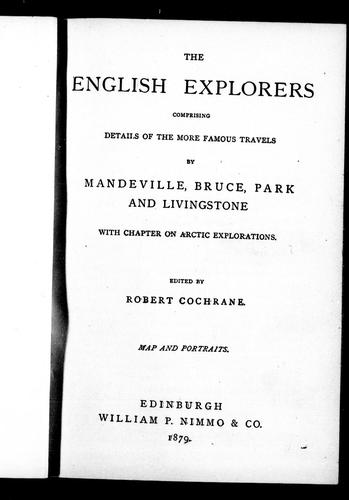 The English explorers by Robert Cochrane