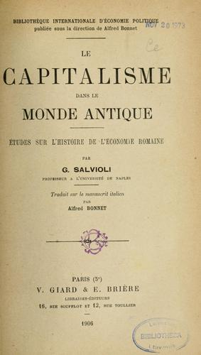 Le capitalisme dans le monde antique by Giuseppe Salvioli