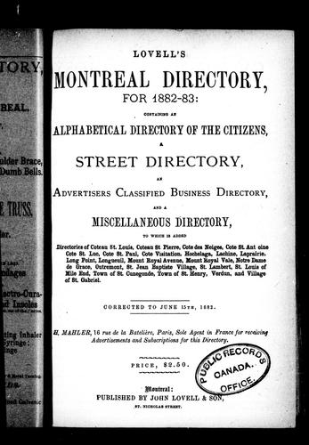 Lovell's Montreal directory for 1882-83 by