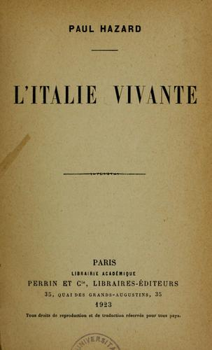 L'Italie vivante by Paul Hazard
