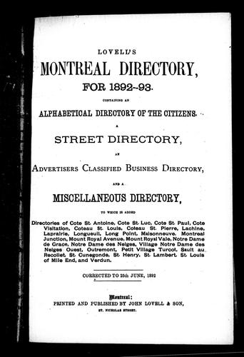 Lovell's Montreal directory for 1892-93 by