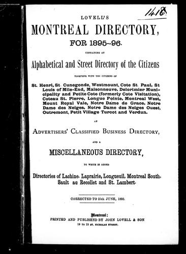 Lovell's Montreal directory for 1895-96 by