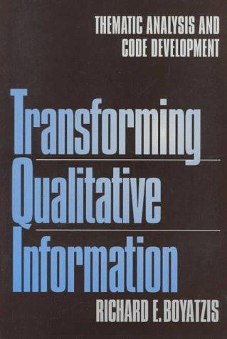 Transforming qualitative information by Richard E. Boyatzis
