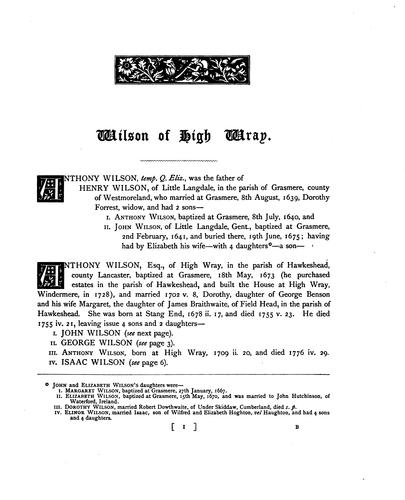 The pedigree of Wilson of High Wray & Kendal, and families connected with them by Sandys B. Foster