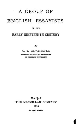 A group of English essayists of the early nineteenth century.
