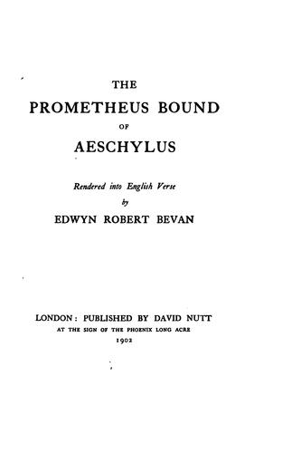 The Prometheus bound of Aeschylus by Aeschylus