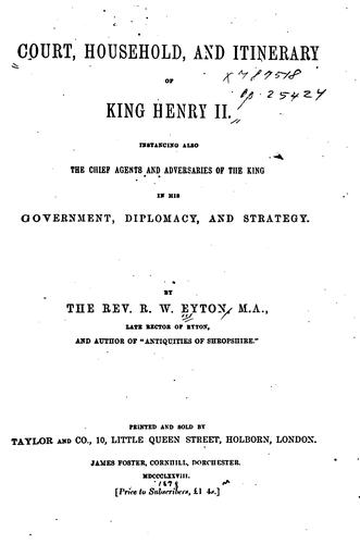 Court, household, and itinerary of King Henry II