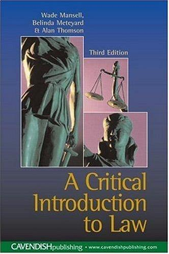 Critical Introduction to Law 3/e (New Title) by Mansell et al