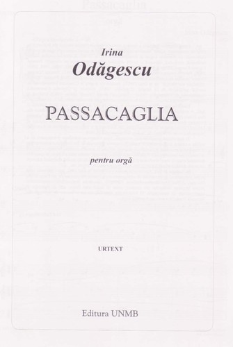 Passacaglia for organ by Irina Odagescu