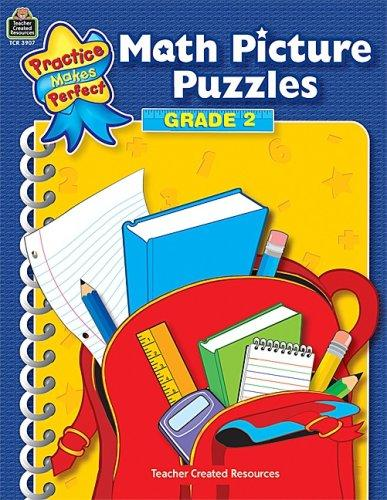 Math Picture Puzzles Grade 2 (Practice Makes Perfect (Teacher Created Materials)) by IN-HOUSE