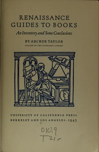 Renaissance guides to books by Taylor, Archer
