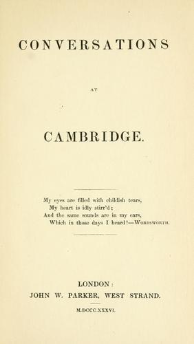 Conversations at Cambridge.