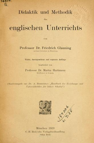 Didaktik und Methodik des englischen Unterrichts.